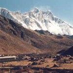 Vy över berget Lhotse. Pangboche. Sagarmatha National Park