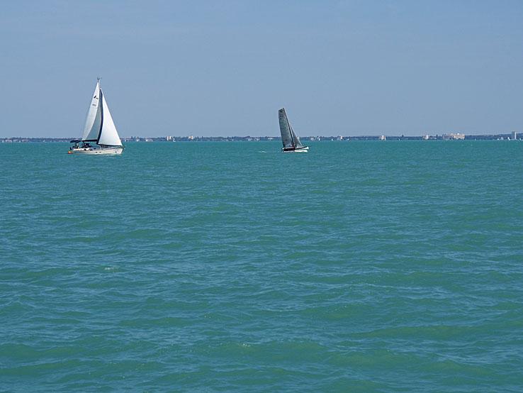 Segelbåtar. Balatonsjön