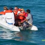 Turister i båt. Santa Maria