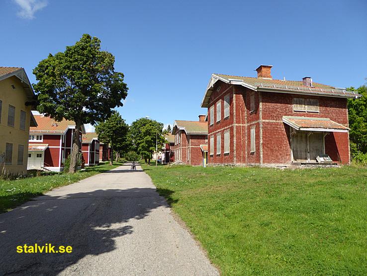 Cykling Grangärde - Grängesberg. De gamla husen på Källfallet. Grängesberg