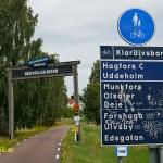 Klarälvsbanan. Skylten vid starten i Karlstad