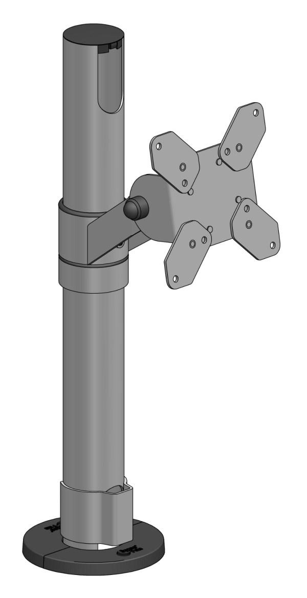 Ergonomic Solutions Vesa 75 100 Pole Mount - Black 137 In Distributor Stock