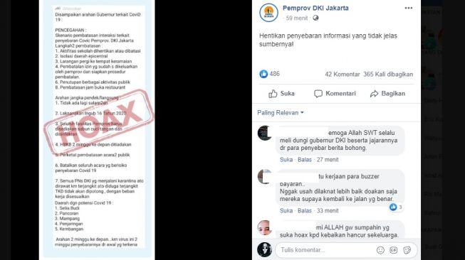 Penjelasan CEK FAKTA, klarifikasi Pemprov DKI Jakarta (Facebook Pemprov DKI Jakarta)
