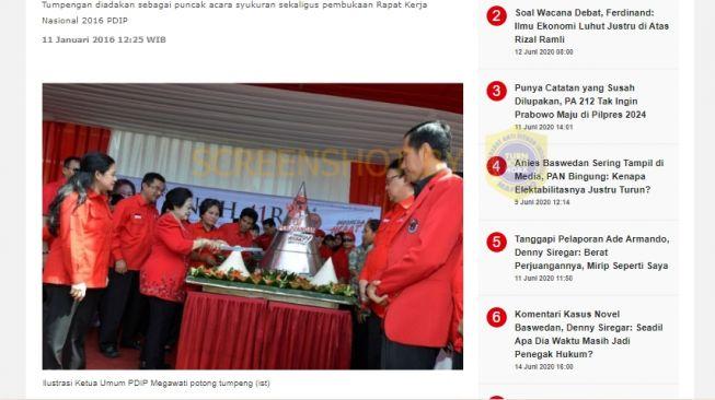 Foto asli Megawati potong tumpeng tahun 2017 (Turnbackhoax.id).