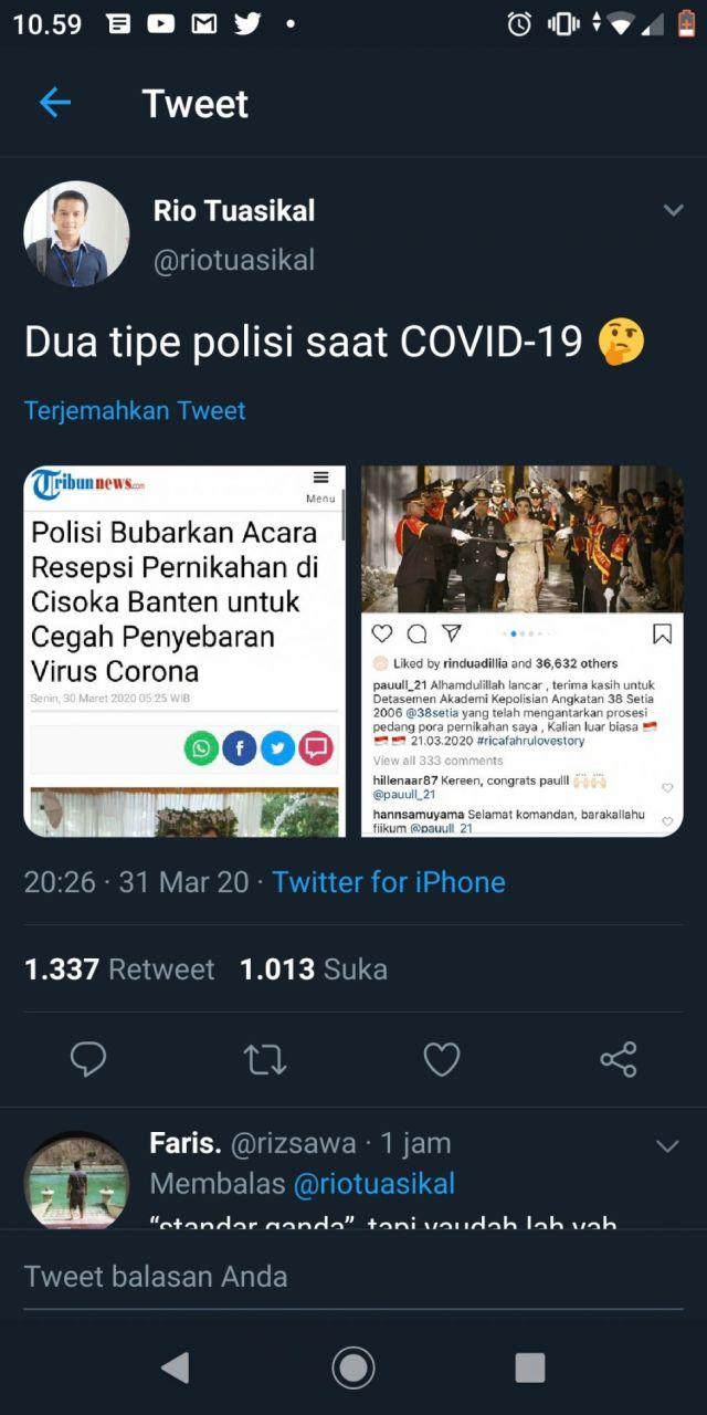 Bidik layar unggahan netizen terkait pesta pernikahan diduga anggota polisi yang digelar saat wabah corona. (Twitter).