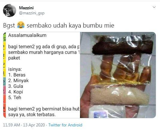 Paket sembako murah bikin warganet geram (Twitter/mazzini_gsp.)