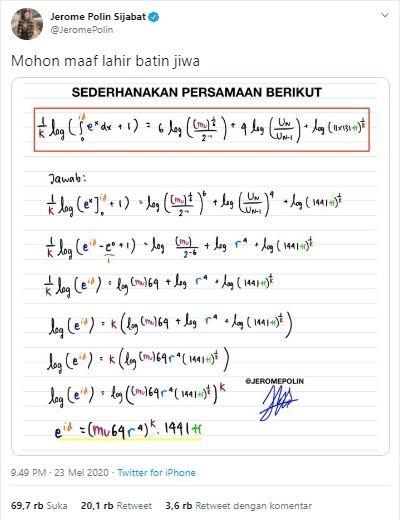 Persamaan logaritma yang menghasilkan ucapan selamat Idul Fitri (Twitter).