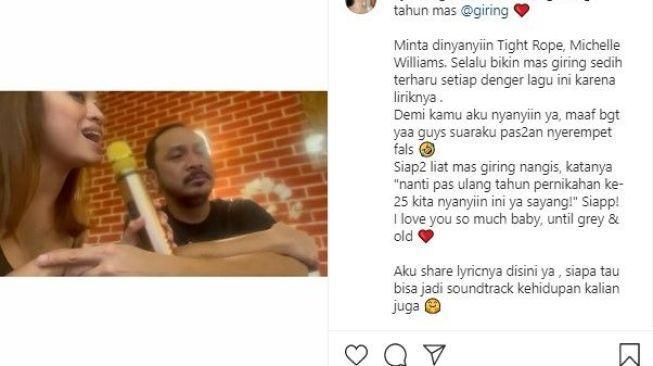 Cynthia Riza bernyanyi untuk Giring (Instagram)