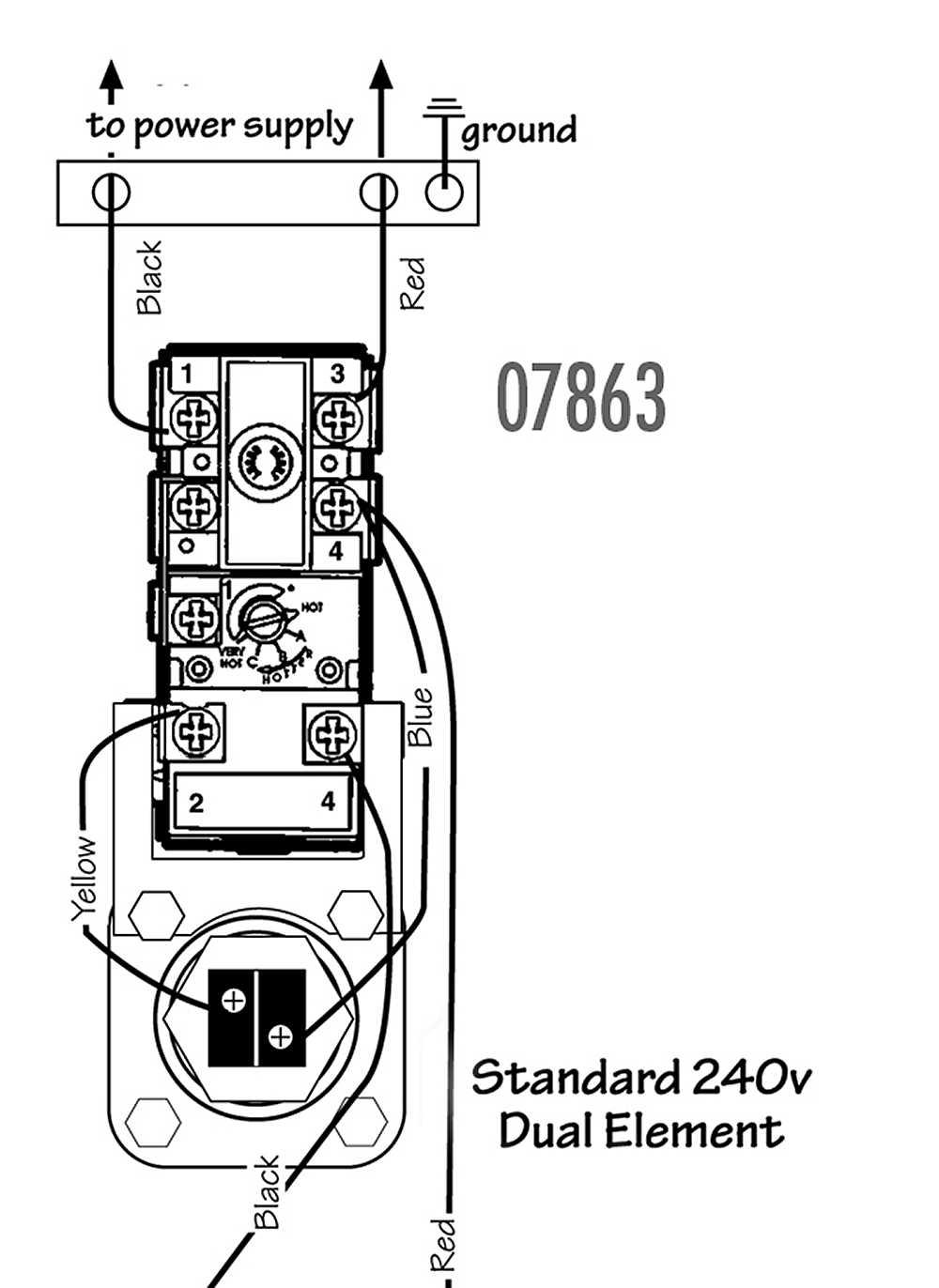 dual element 240 volt hot water heater wiring