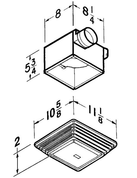 Broan-Nutone 678 50 Cfm White Plastic Economy Ventilation