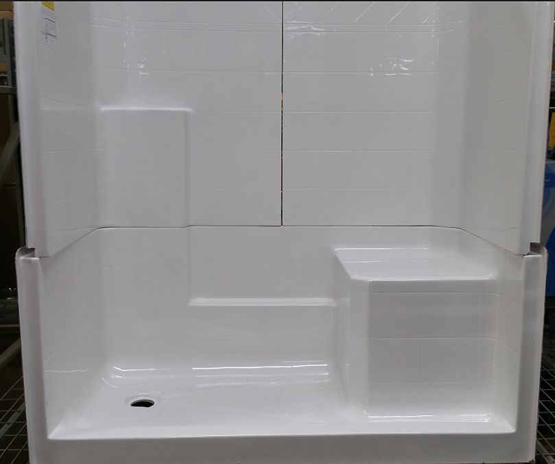 60 x 33 x 77 inch white tiled 3 piece shower stall with right side seat