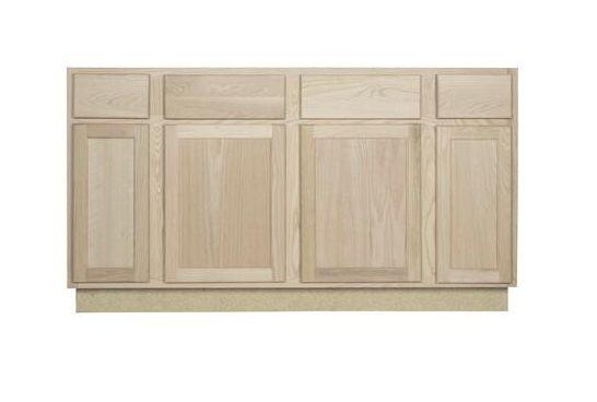 60 x 34 1 2 x 24 inch premium oak ready to finish sink base cabinet