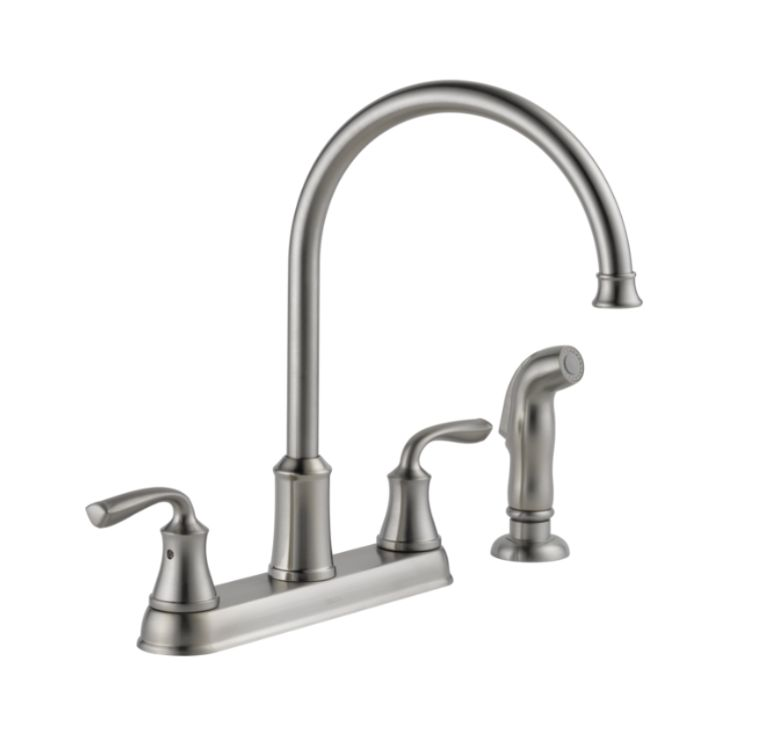 lorain stainless two handle kitchen faucet with spray