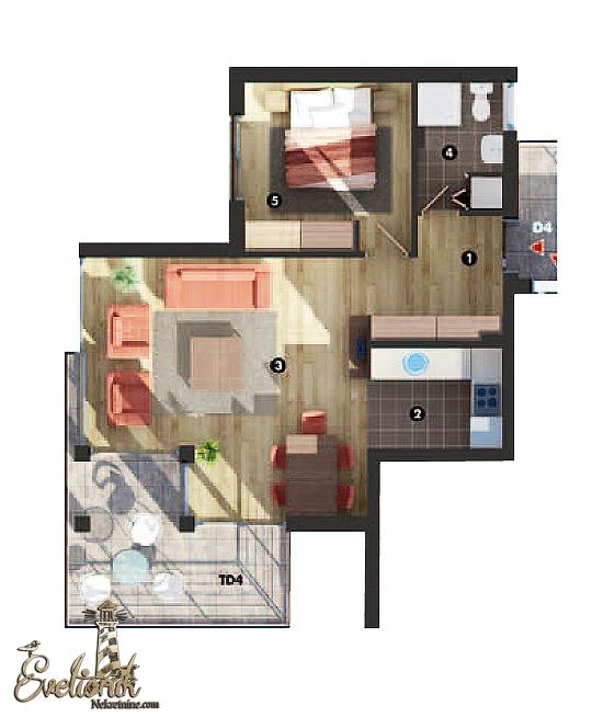 Luksuzni kompletno opremljen dvosobni stan, 93m2 - Djenovici, Herceg Novi