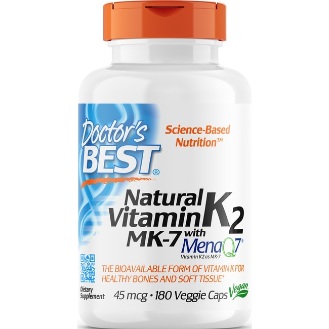 Doctor's Best Natural Vitamin K2 MK-7 with MenaQ7 45 mcg 180 Veg Caps - Swanson Health Products