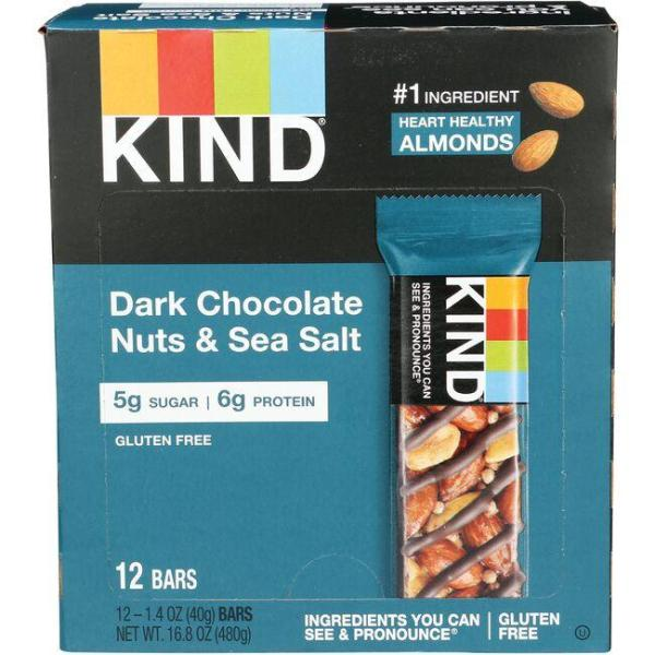 Kind Nuts amp Spices Dark Chocolate Nuts amp Sea Salt 12 Bar