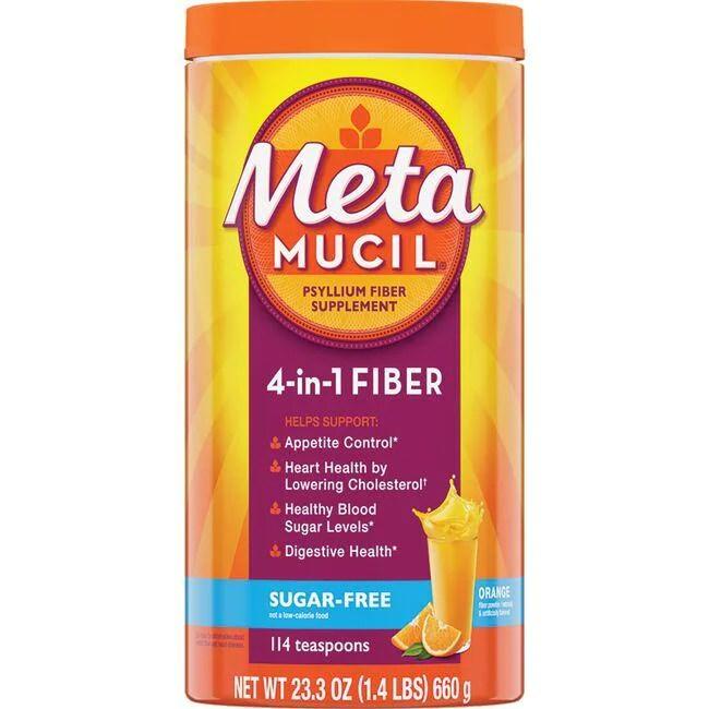 Metamucil Psyllium Fiber Sugar Free - Orange 23.3 oz Pwdr ...