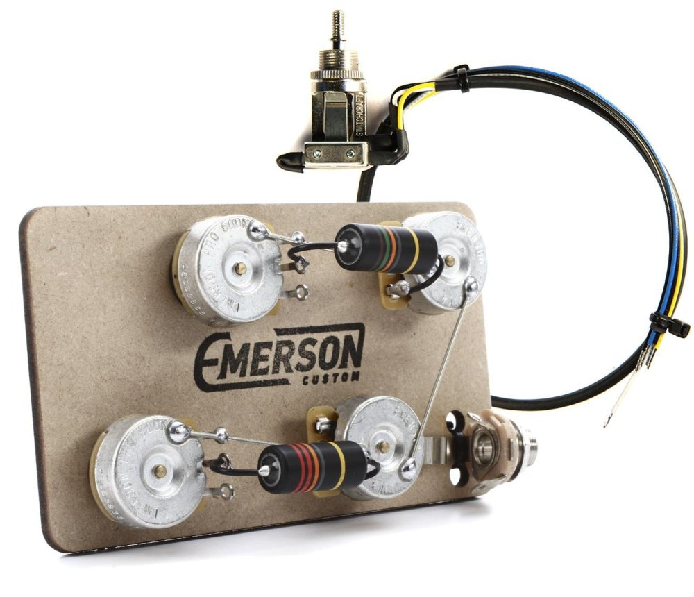 medium resolution of emerson custom prewired kit for les paul guitars long shaft with 3 way