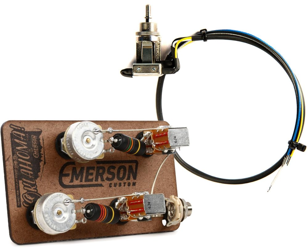 medium resolution of emerson custom prewired kit for les paul guitars long shaft with push pull with 3 way switch