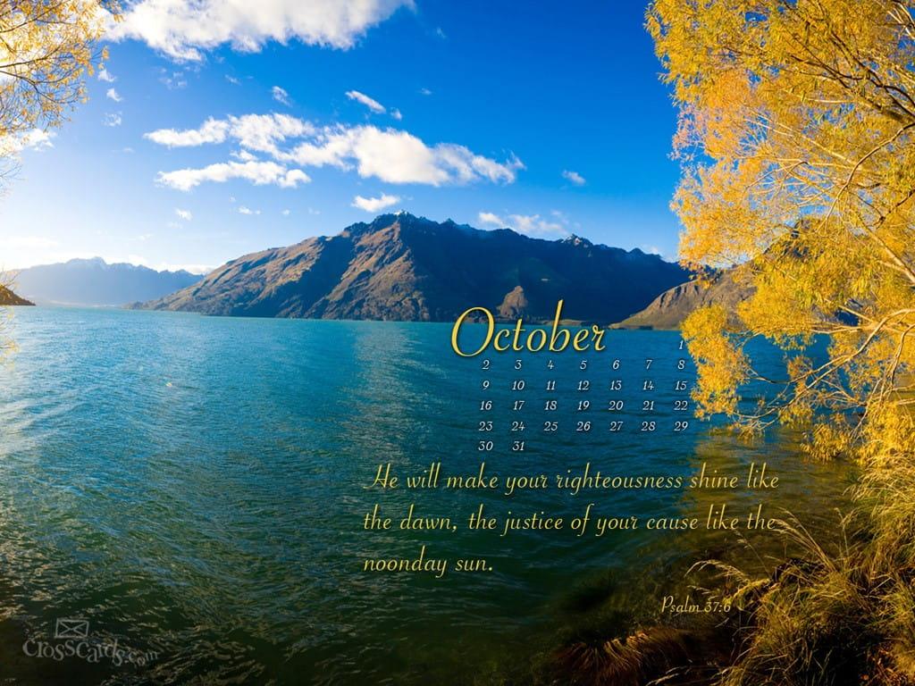Christian Fall Iphone Wallpaper October 2011 Psalm 37 6 Desktop Calendar Free October