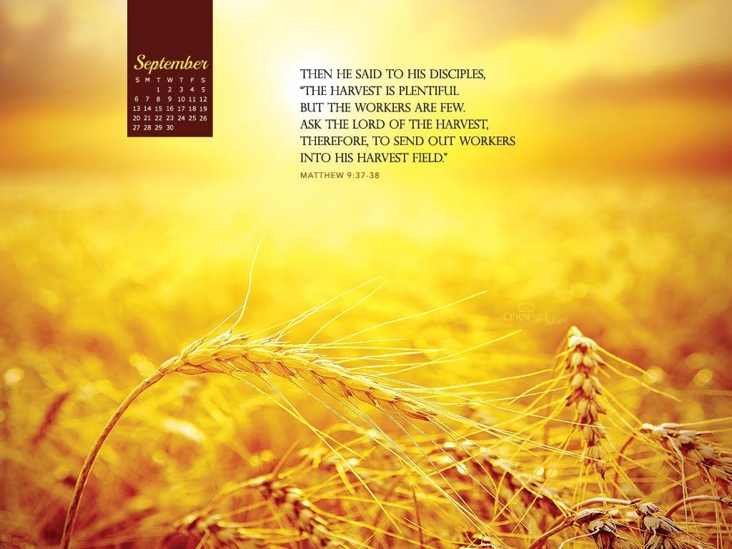 Fall Scripture Iphone Wallpaper September 2015 Matthew 9 37 38 Desktop Calendar Free