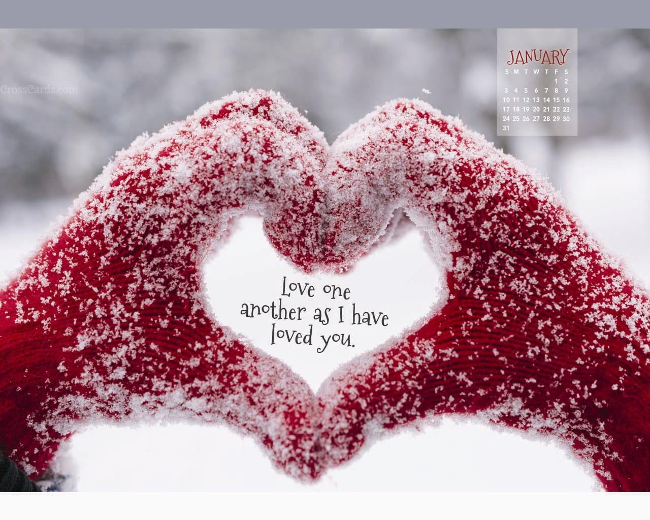 January 2016 Love One Another Desktop Calendar Free