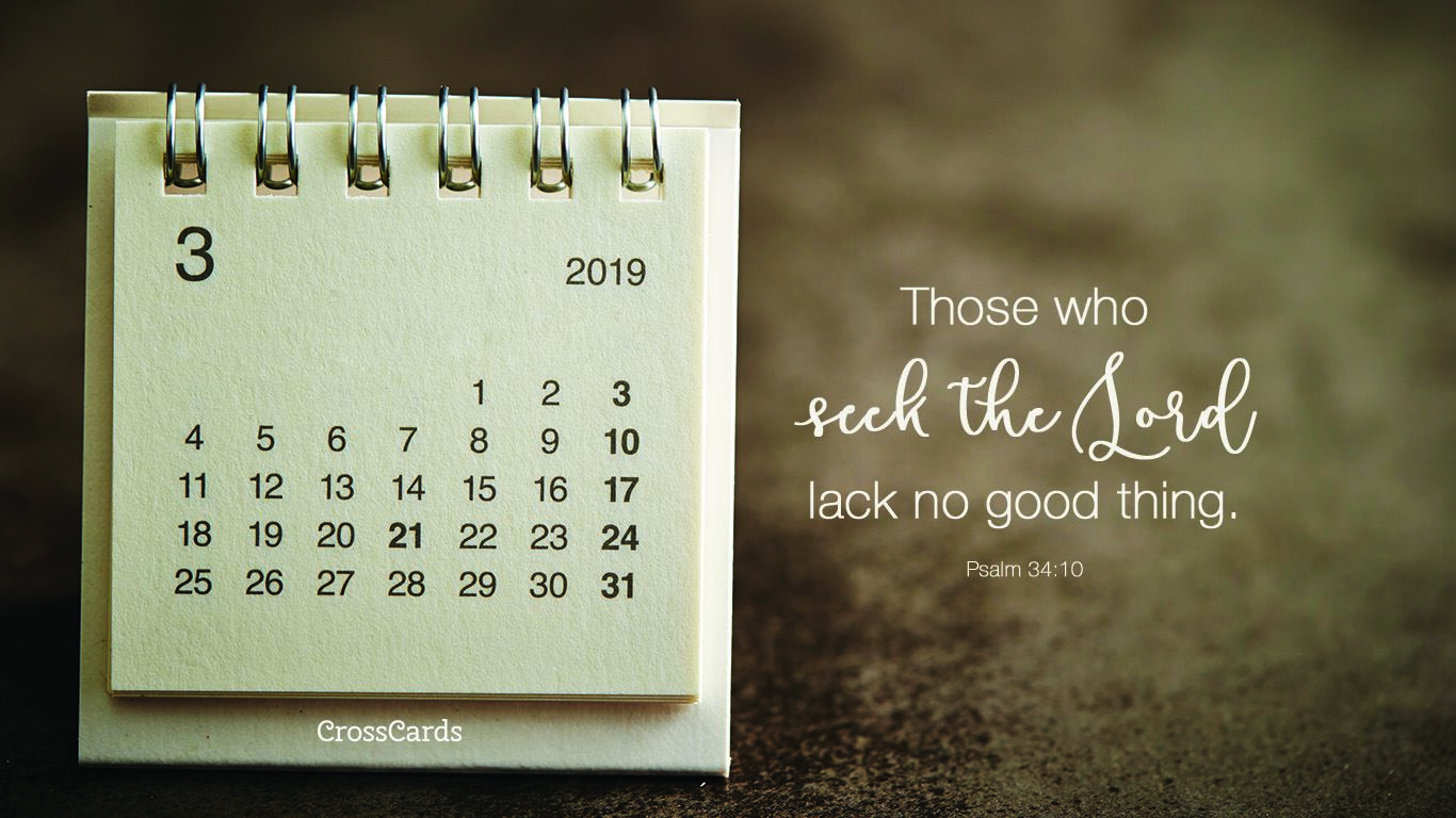 March 2019 Seek The Lord Desktop Calendar Free March