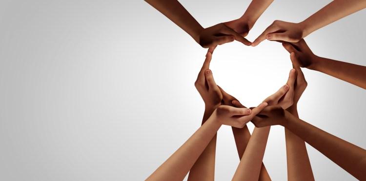 multicultural hands forming heart healing racism