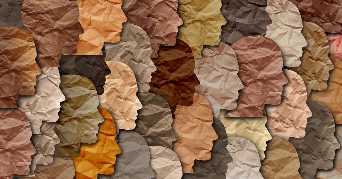 paper illustration of many diverse ethnicities and skin colors, who is my neighbor jesus passivity