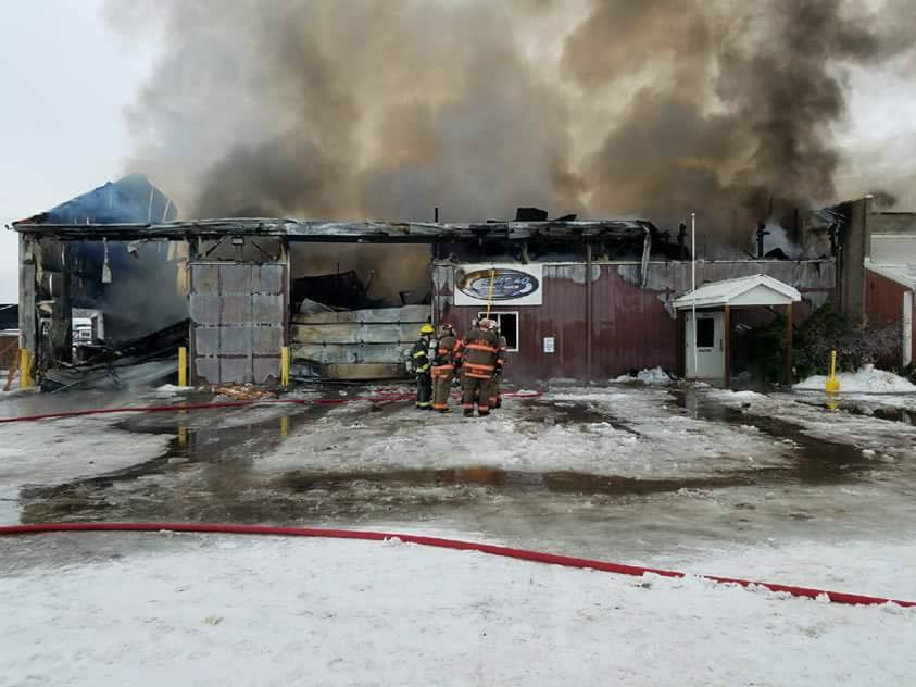 Crews battling fire at Page Trucking Company in Weedsport