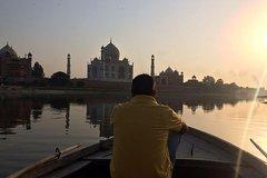 Photography with boat ride behind Taj Mahal