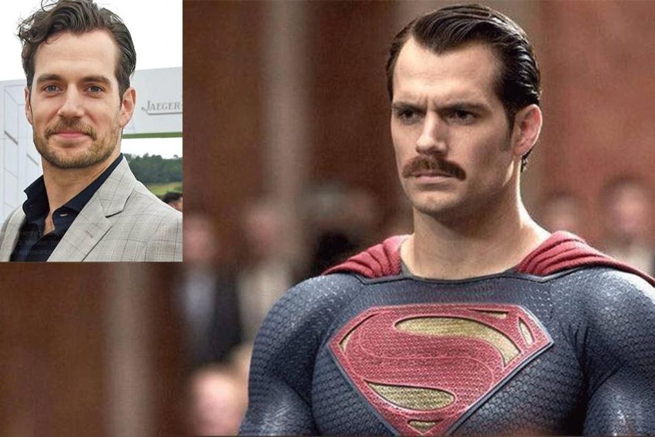 superman mit schnurrbart dreharbeiten