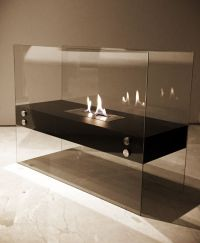 1green Floating Glass Freestanding Bio-ethanol Fireplace ...
