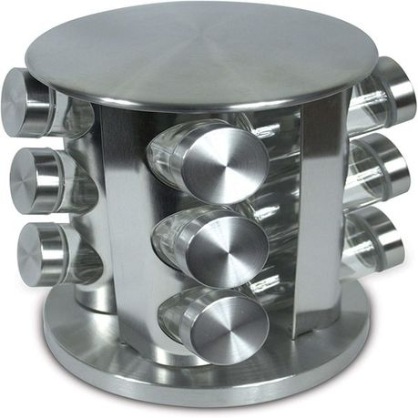 optic stainless steel spice rack 12 piece silver