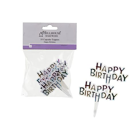 Bulk Pack X 5 Cake Topper Happy Birthday Picks 10 Piece Per Pack