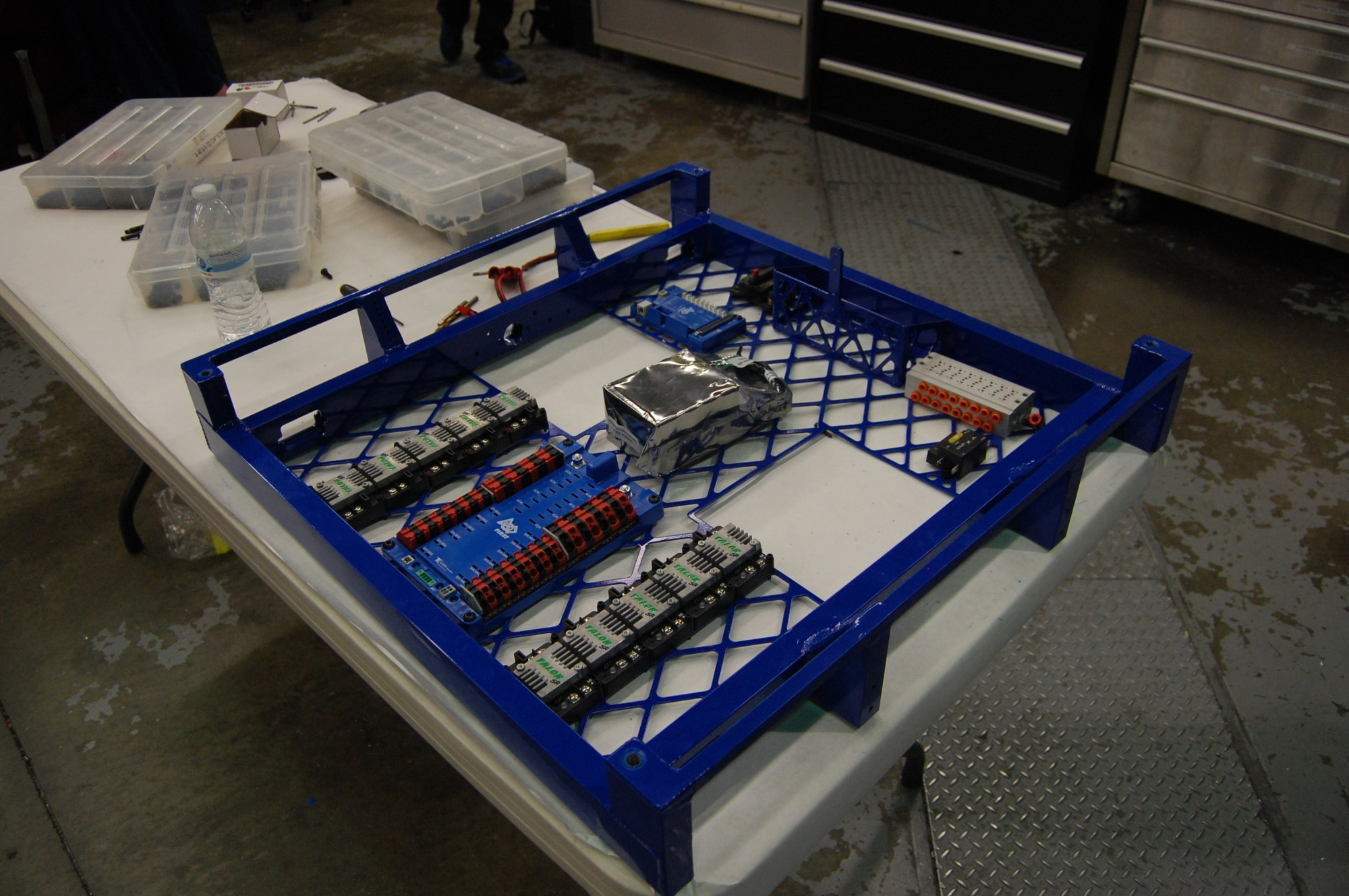hight resolution of electronics beginning to be attached to the powdercoated chassis