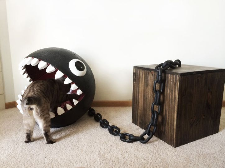 Garden Nerd Mario Chain Chomp Pet Bed DIY Styrofoam Cat Bed Wooden Storage Box