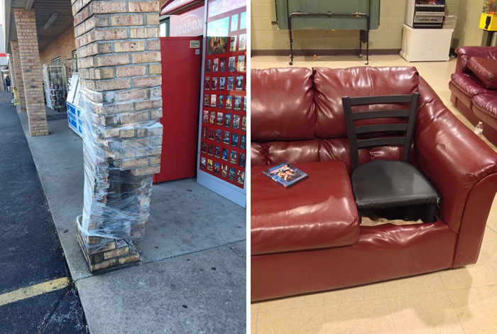 how to fix broken plastic chair outdoor lounge chairs costco fixing a pillar with wrap and 12 more examples of strange fixes - techeblog