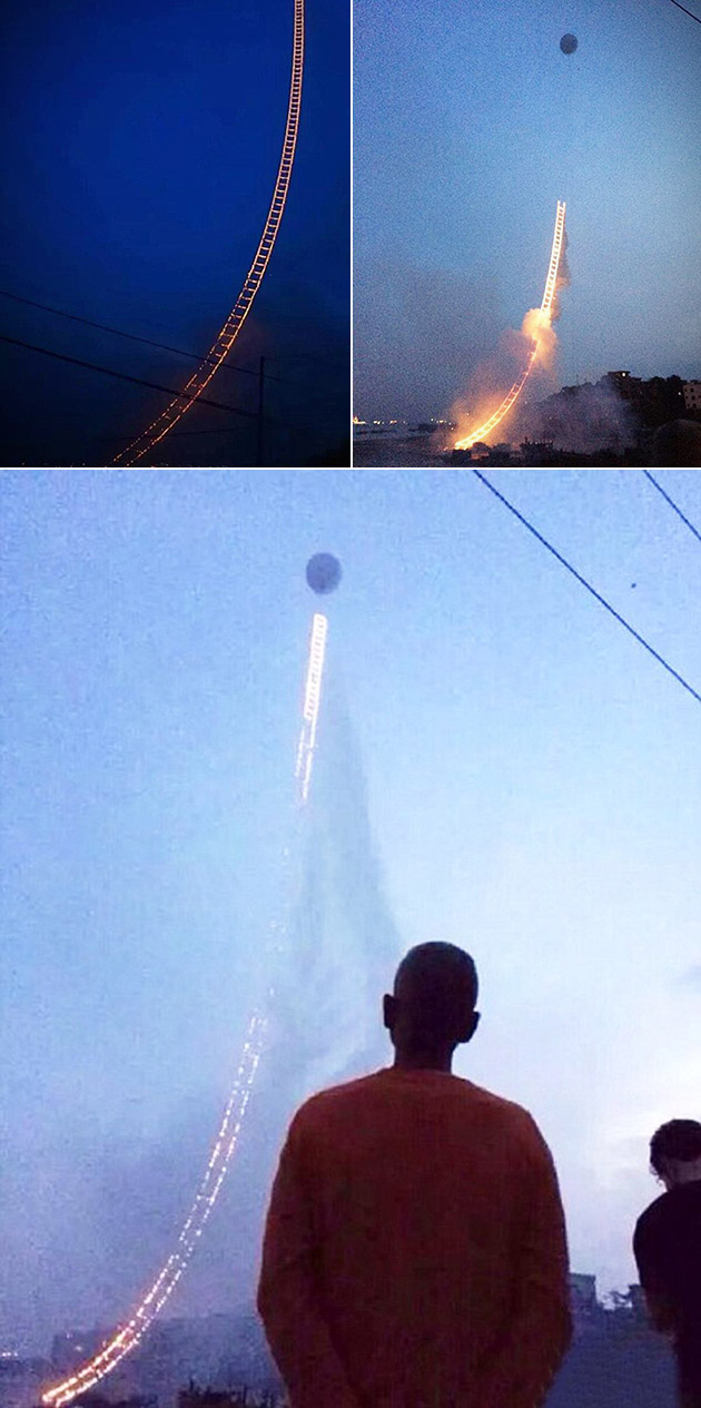 Sky Ladder Firework from China Appears to Defy Gravity