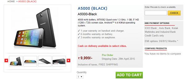Lenovo A5000 Listed Online