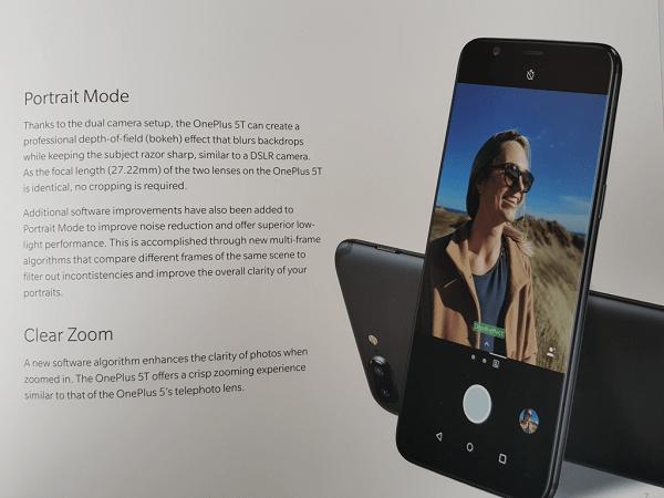 OnePlus 5T Box Leak Camera Feature
