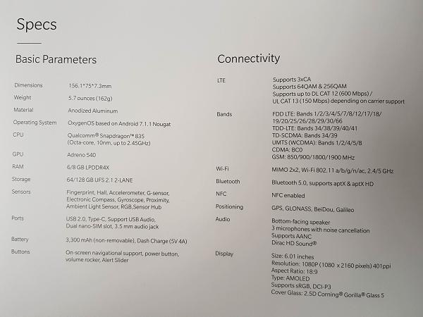 OnePlus 5T Box Leak Specs