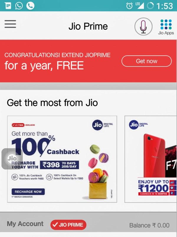 Reliance Jio Free Membership