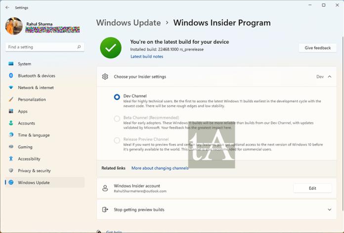 Leave Windows 11 Dev Insider Program