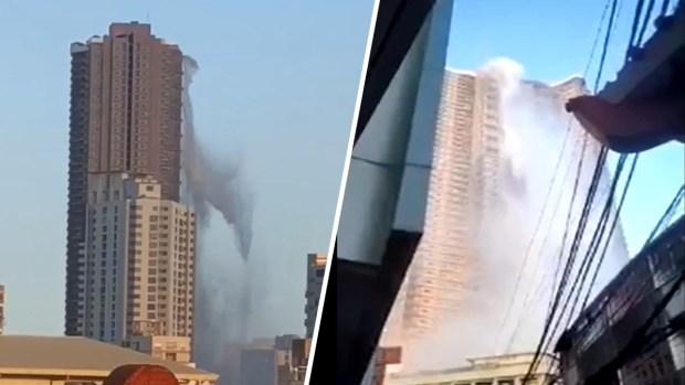 Video: In einem Erdbeben fällt aus einem Wolkenkratzer eine erschreckende Wasserfallkaskade