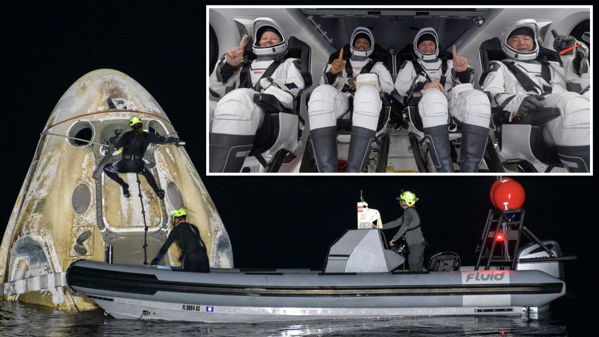 Astronauts return to Earth for first night landing since Apollo 8 mission