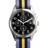Regimental chrono noir bracelet mauve bleu et jaune Spalding, 235€