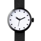 montre Clomm noir, fond ceramique blanc, bracelet cuir noir