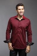 chemise-marron-doublure-col-poignet-rouge