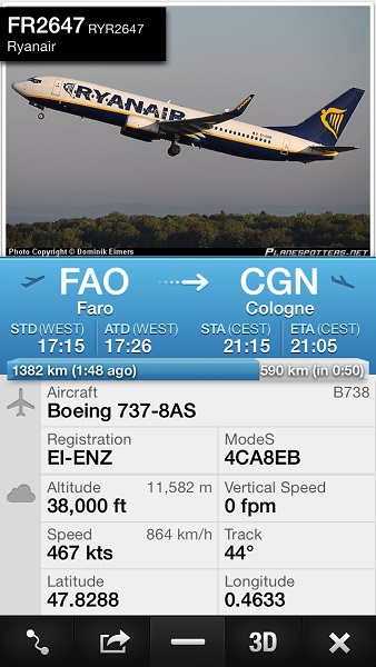 exemple identification avion avec Flightradar24